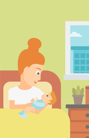 A woman lying in bed with a newborn baby in a maternity ward vector flat design illustration. Vertical layout.