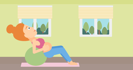 A pregnant woman doing exercises with a gymnastic ball indoor vector flat design illustration. Horizontal layout.
