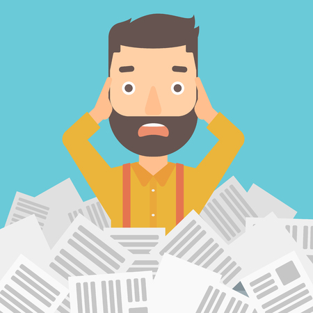A stressed hipster man with the beard clutching his head because of having a lot of work to do with a heap of newspapers in front of him vector flat design illustration. Square layout.