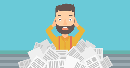 A stressed hipster man with the beard clutching his head because of having a lot of work to do with a heap of newspapers in front of him vector flat design illustration. Horizontal layout.