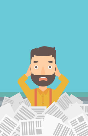 A stressed hipster man with the beard clutching his head because of having a lot of work to do with a heap of newspapers in front of him vector flat design illustration. Vertical layout.