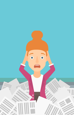 A stressed woman clutching her head because of having a lot of work to do with a heap of newspapers in front of her vector flat design illustration. Vertical layout.