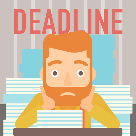 A scared hipster man with the beard  sitting at the table with stacks of papers and having problem with deadline vector flat design illustration. Square layout.