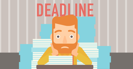A scared hipster man with the beard  sitting at the table with stacks of papers and having problem with deadline vector flat design illustration. Horizontal layout. Illustration
