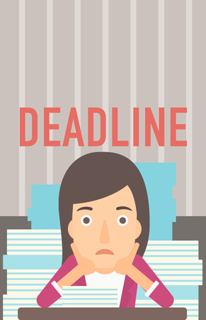 A scared woman sitting at the table with stacks of papers and having problem with deadline vector flat design illustration. Vertical layout.