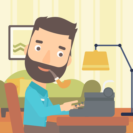 A reporter writing an article on typewriter and smoking pipe on the background of living room vector flat design illustration. Square layout.