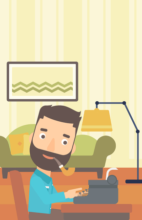 A reporter writing an article on typewriter and smoking pipe on the background of living room vector flat design illustration. Vertical layout.