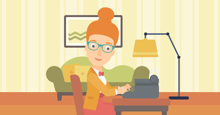 A reporter writing an article on typewriter on the background of living room vector flat design illustration. Horizontal layout.