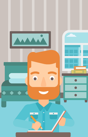A hipster man with the beard sitting at the table and writing an article in writing-pad on the background of bedroom vector flat design illustration. Vertical layout. Illustration