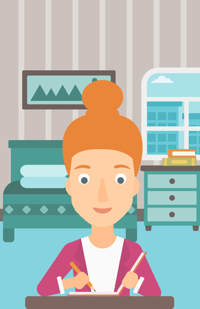 A reporter sitting at the table and writing an article in writing-pad on the background of bedroom vector flat design illustration. Vertical layout.