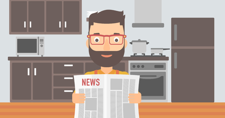 A hipster man with the beard reading the newspaper on the background of kitchen vector flat design illustration. Horizontal layout.