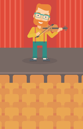 A hipster man with the beard  playing violin on the stage vector flat design illustration. Vertical layout.
