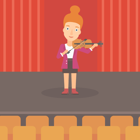 A woman playing violin on the stage vector flat design illustration. Square layout.