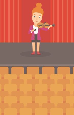 A woman playing violin on the stage vector flat design illustration. Vertical layout. 矢量图像