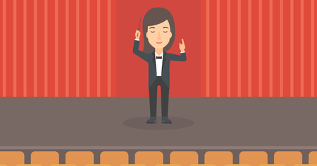 baton: A woman directing with her baton on the stage vector flat design illustration. Horizontal layout. Illustration