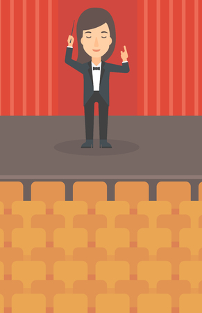 maestro: A woman directing with her baton on the stage vector flat design illustration. Vertical layout.