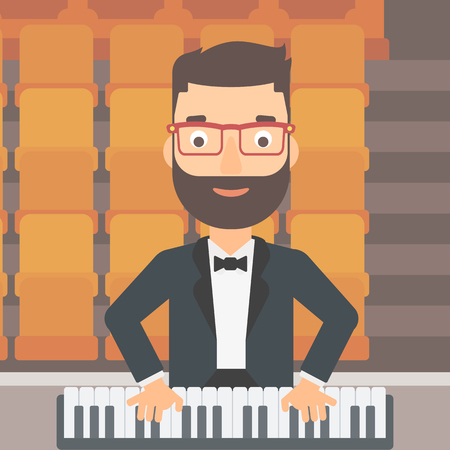A hipster man with the beard playing piano on the background of empty theater seats vector flat design illustration. Square layout. Illustration