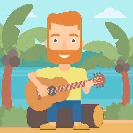 A hipster man with the beard sitting on a log and playing a guitar on the background of tropical beach with palm trees and the sea vector flat design illustration. Square layout.