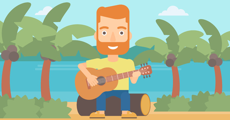 A hipster man with the beard sitting on a log and playing a guitar on the background of tropical beach with palm trees and the sea vector flat design illustration. Horizontal layout.