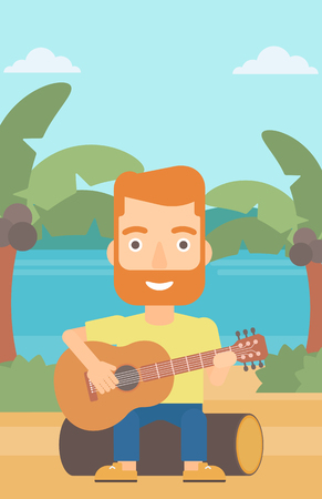A hipster man with the beard sitting on a log and playing a guitar on the background of tropical beach with palm trees and the sea vector flat design illustration. Vertical layout. Illustration
