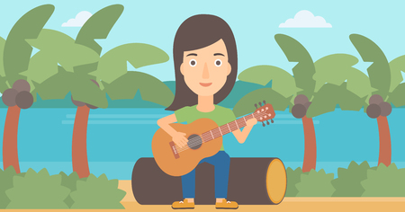 A woman sitting on a log and playing a guitar on the background of tropical beach with palm trees and the sea vector flat design illustration. Horizontal layout.