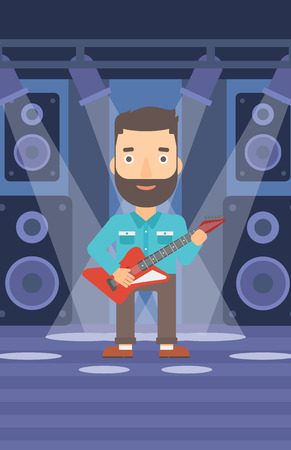 A hipster man with the beard playing electric guitar on the stage with spotlights vector flat design illustration. Vertical layout.