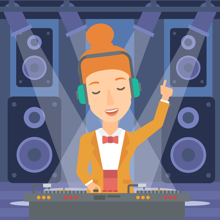 A DJ in headphones with hand up playing music on turntable on the background of night club vector flat design illustration.