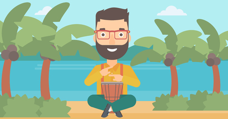 A hipster man with the beard playing tom tom on the background of tropical beach with palm trees and the sea vector flat design illustration. Illusztráció