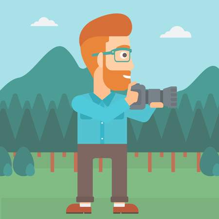 A man taking photo on the background of green forest and mountains vector flat design illustration.