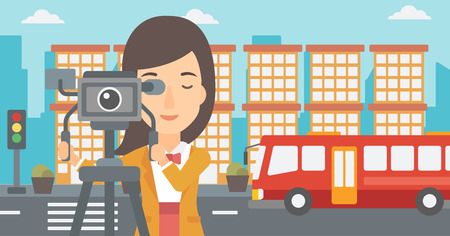 A camerawoman looking through movie camera on a city background vector flat design illustration.