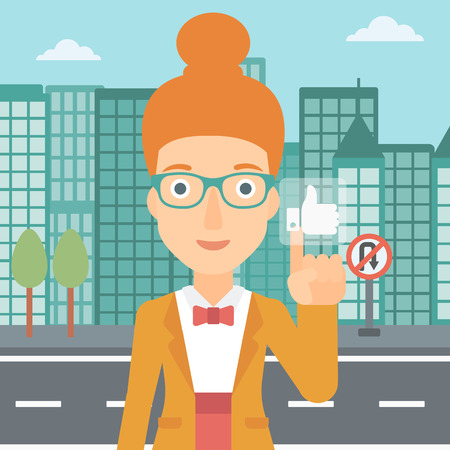 A woman pressing like button on the background of apartment vector flat design illustration. Square layout.