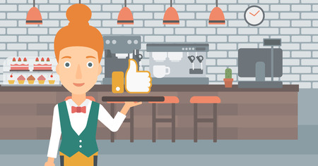 A waitress carrying a tray with like button on a cafe background vector flat design illustration. Horizontal layout.