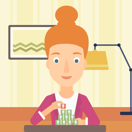 A woman making pyramid of avatars on the background of living room vector flat design illustration. Square layout. Illustration