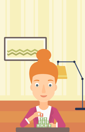 A woman making pyramid of avatars on the background of living room vector flat design illustration. Vertical layout. Vectores