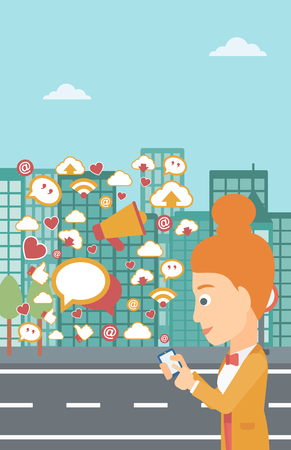 A woman using smartphone with lots of social media application icons flying out on a city background vector flat design illustration. Vertical layout.