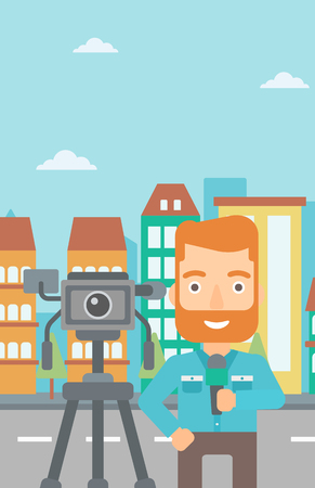 A camera filming and a hipster reporter with the beard standing with a microphone on a city background vector flat design illustration. Vertical layout. Ilustração