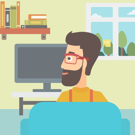 A hipster man with the beard sitting on the couch in living room and watching tv vector flat design illustration. Square layout. Illustration