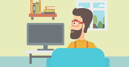 lcd display: A hipster man with the beard sitting on the couch in living room and watching tv vector flat design illustration. Horizontal layout. Illustration