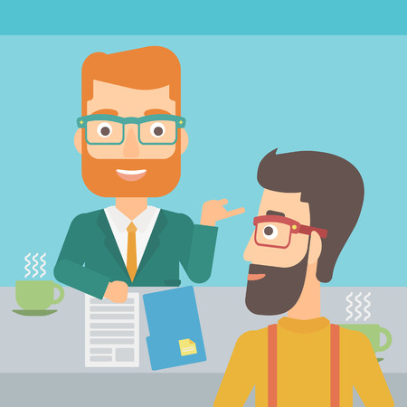 A journalist interviewing a hipster man with the beard on a light blue background vector flat design illustration. Square layout.