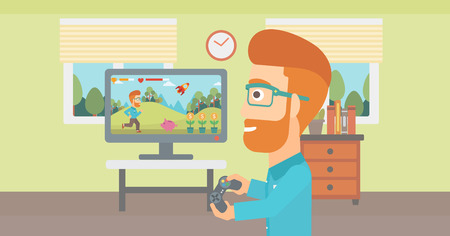 A woman sitting on the couch in living room and watching tv vector flat design illustration. Horizontal layout.
