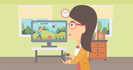 A woman playing video game with gamepad in hands in living room vector flat design illustration. Horizontal layout.