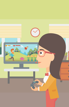 A woman playing video game with gamepad in hands in living room vector flat design illustration. Vertical layout. Illustration