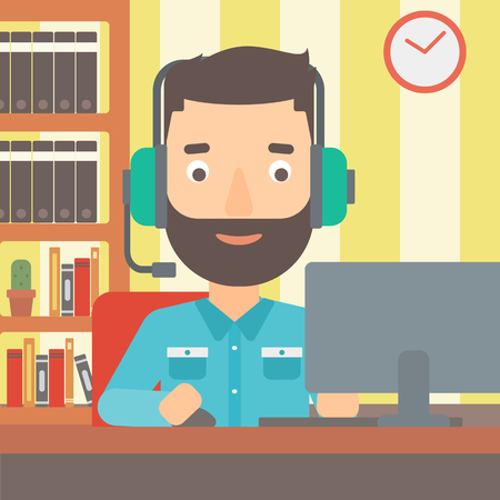 users video: A hipster man in headphones sitting in front of computer monitor with mouse in hand on the background of living room vector flat design illustration. Square layout. Illustration