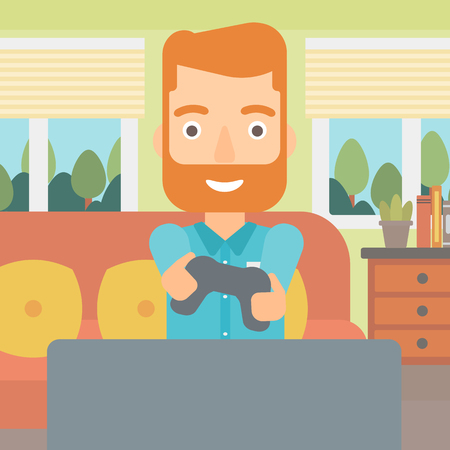 An enthusiastic hipster man with gamepad in hands on the background of living room vector flat design illustration. Square layout. Vettoriali
