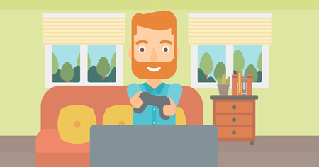 An enthusiastic hipster man with gamepad in hands on the background of living room vector flat design illustration.  Horizontal layout.