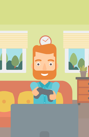 An enthusiastic hipster man with gamepad in hands on the background of living room vector flat design illustration. Vertical layout.