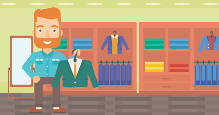 A hipster man with the beard holding a hanger with a jacket on the background of clothes store vector flat design illustration. Horizontal layout. Illustration