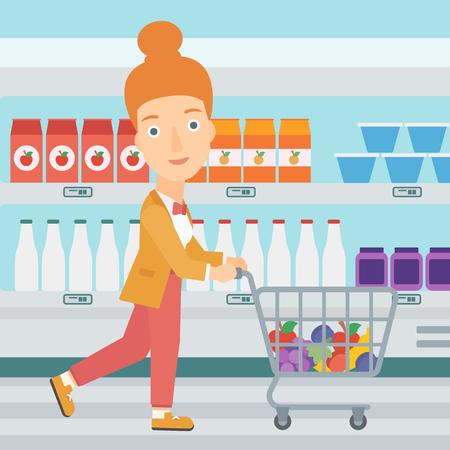 A woman pushing a supermarket cart with some goods in it on the background of supermarket shelves with products vector flat design illustration. Square layout.