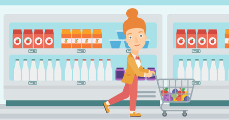 A woman pushing a supermarket cart with some goods in it on the background of supermarket shelves with products vector flat design illustration. Horizontal layout. Illustration