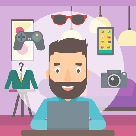 A hipster man with the beard sitting in front of laptop and some icons of goods around him on the background of living room vector flat design illustration. Square layout.
